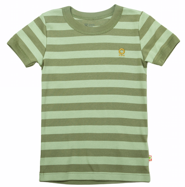 Bilde av t-skjorte øko grønn striper