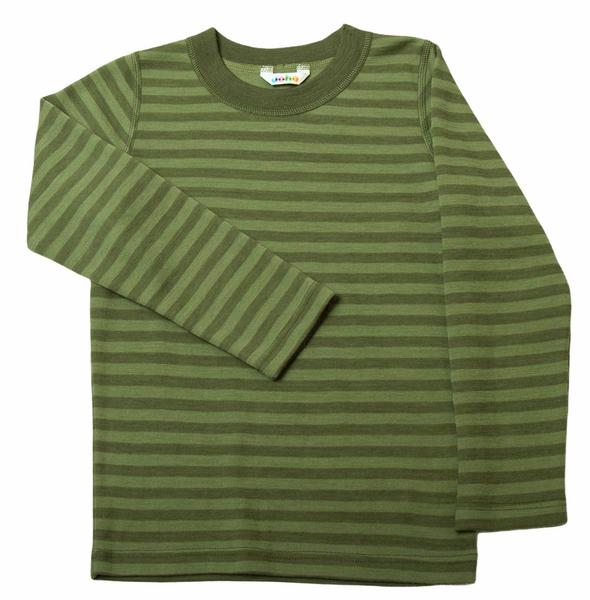 Bilde av Genser ull striper grønn stor